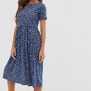 Wednesday's Girl Smudge Print Dot Midi Dress